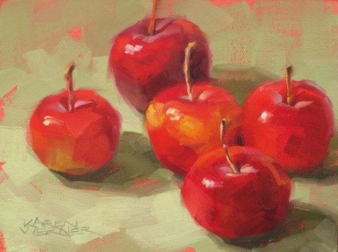 """Five Crab Apples"" original fine art by Karen Werner"