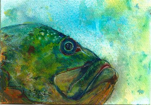 """5x7 Fish Under Water Watercolor and Ink on 300# paper Penny StewArt"" original fine art by Penny Lee StewArt"