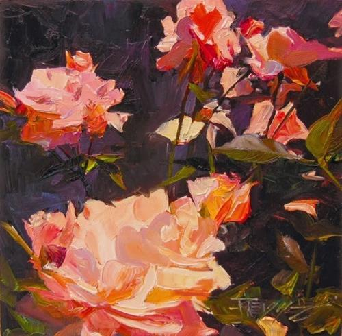 """Fresh Roses rose series #5  rose oil painting by Robin Weiss"" original fine art by Robin Weiss"