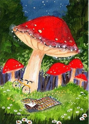 """Mushroom Picnic Spot"" original fine art by Patricia Ann Rizzo"