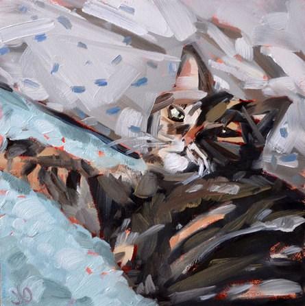 """""""Lounging Cat"""" original fine art by Jessica Green"""