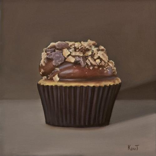 """Cupcake with Chocolate Frosting and Nuts"" original fine art by Kim Testone"