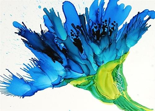 """Blue Poppy I, 5 x 7 Alcohol Ink, Floral"" original fine art by Donna Pierce-Clark"