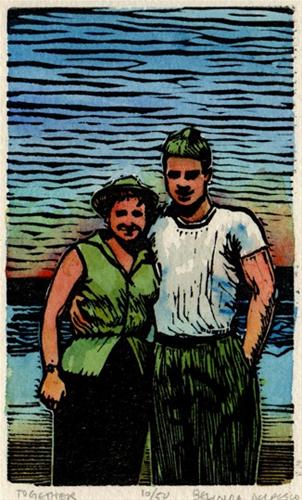 """Linocut: Together (my grandparents in 1945)"" original fine art by Belinda Del Pesco"