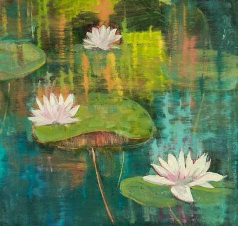 """Landscape Oil Painting Lily Pond VI  by Colorado Artist Susan Fowler"" original fine art by Susan Fowler"