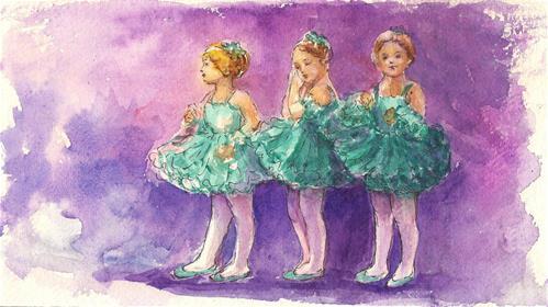 """Angelic ballerinas"" original fine art by Asha Shenoy S"