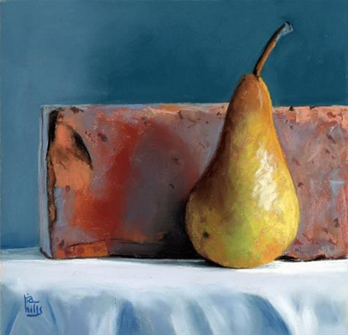 """Pear still life pastel painting"" original fine art by Ria Hills"