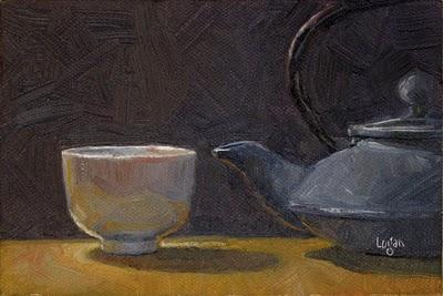 """Tea Bowl and Pot"" original fine art by Raymond Logan"