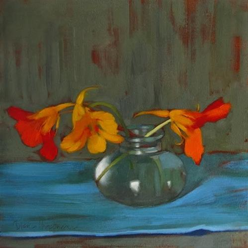 """""""Three in Sync small floral still life painting"""" original fine art by Diane Hoeptner"""