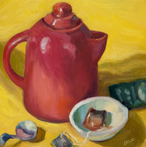"""Red Teapot"" original fine art by Jana Bouc"