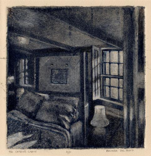 """Silk Aquatint: The Captain's Cabin"" original fine art by Belinda Del Pesco"