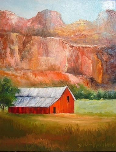 """Mountains and a Red Barn Landscape"" original fine art by Barbara Haviland"