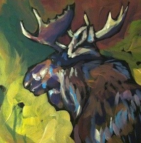 """Afternoon Sunlit Moose"" original fine art by Kat Corrigan"
