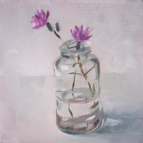 """Purple Flowers in Bottle"" original fine art by Karen Boe"