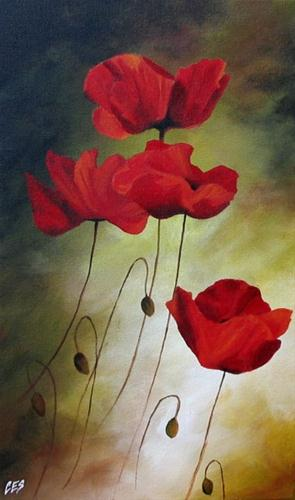"""Poppies"" original fine art by ~ces~ Christine E. S. Code"