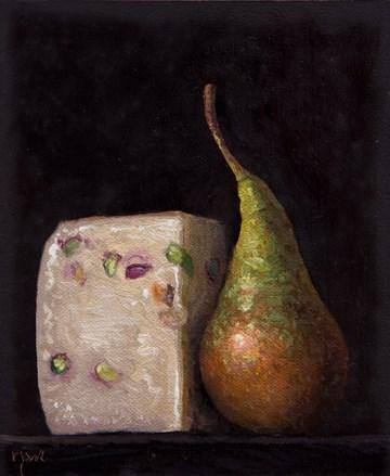 """""""Pecorino Busti al Pistaccio and Bosc Pear from Testaccio Market, Rome (Italy 2017 painting #3)"""" original fine art by Abbey Ryan"""