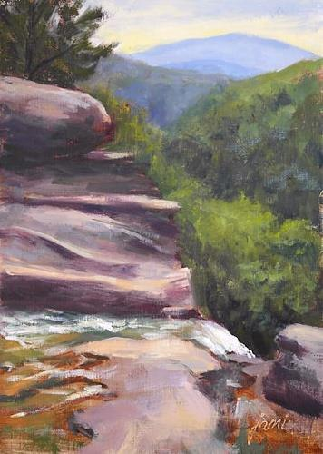 """Over the Edge at Kaaterskill Falls"" original fine art by Jamie Williams Grossman"