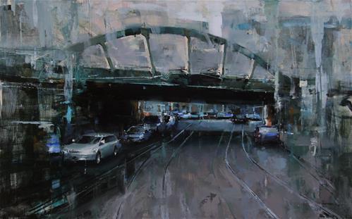 """Under the Bridge"" original fine art by Tibor Nagy"