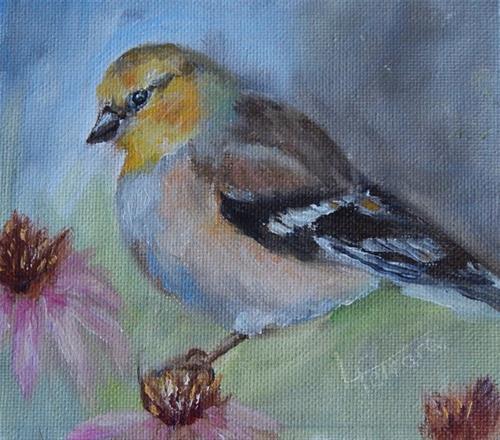 """""""Female Goldfinch"""" original fine art by Lina Ferrara"""
