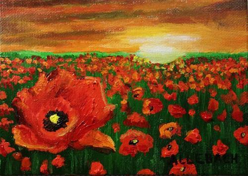 """Sunset Poppies"" original fine art by Jo Allebach"