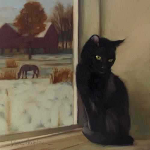 """Rural Recluse  a new cat painting"" original fine art by Diane Hoeptner"