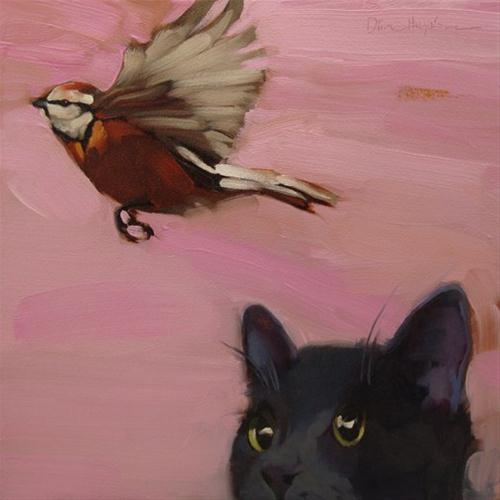 """The One that Got Away cat and bird painting"" original fine art by Diane Hoeptner"