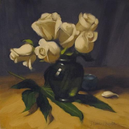 """TJ Roses & 3 Tips on How to Paint Roses"" original fine art by Diane Hoeptner"
