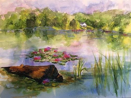"""""""Lake Logan Lily Pads, 9 x 12 watercolor, landscape"""" original fine art by Donna Pierce-Clark"""