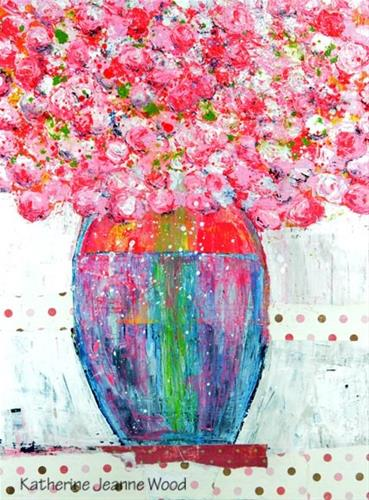 """Large pink cottage chic flower painting No 148"" original fine art by Katie Jeanne Wood"