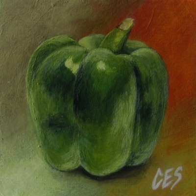 """Green Bell Pepper"" original fine art by ~ces~ Christine E. S. Code"