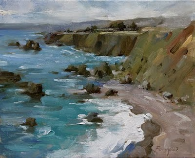"""Small Seascapes (Mendocino - the cliff  beach)"" original fine art by Fongwei Liu"