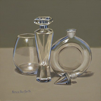 """Glass With Perfume Bottles"" original fine art by Nance Danforth"