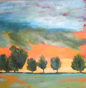 """""""Orange and Yellow Hills"""" original fine art by Janet Bludau"""