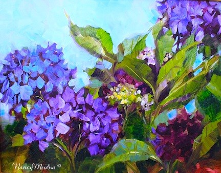 """Wild Abandon Blue Hydrangeas and My New Video - Flower Paintings by Nancy Medina"" original fine art by Nancy Medina"