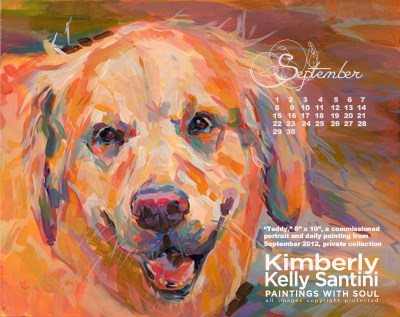 """September Desktop Calendar"" original fine art by Kimberly Santini"