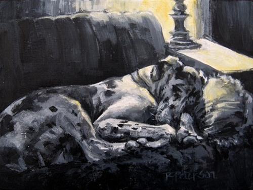 """Too Tired To Read"" original fine art by Robin Peterson"