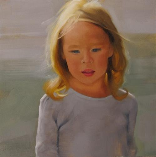"""Daughter small portrait painting of girl"" original fine art by Diane Hoeptner"