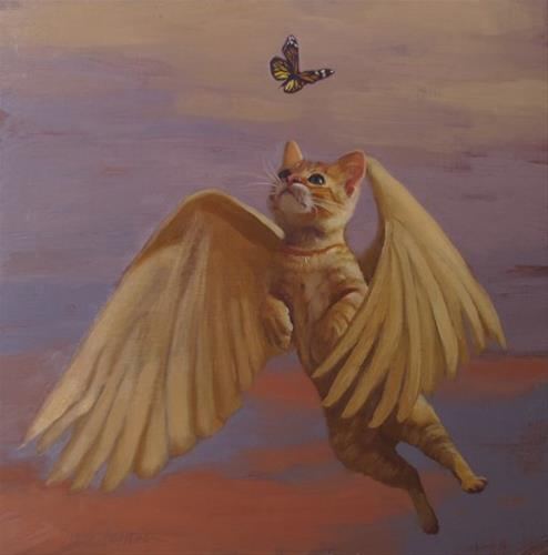 """Flying Cat Dreams & Visions Show at Lakeland Community College"" original fine art by Diane Hoeptner"