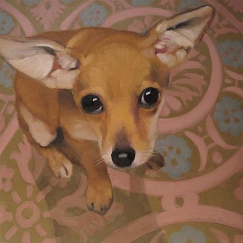 Chewy is the cutest Chihuahua dog oil painting original fine art by Diane Hoeptner
