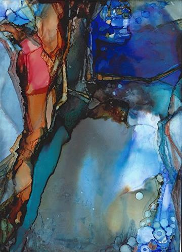 """Abstract Painting, Alcohol Ink BENEATH THE WAVES  by New Orleans Artist Lou Jordan"" original fine art by Lou Jordan"