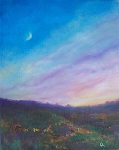 """Crescent Moon/Rainbow Sky"" original fine art by Elizabeth Elgin"