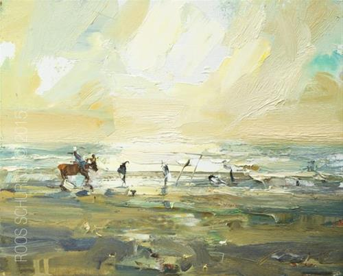 """Painting Horses at the Beach"" original fine art by Roos Schuring"