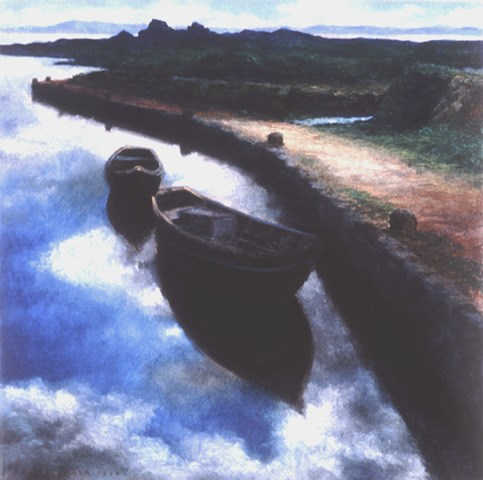"""Galway Boats"" original fine art by Joe Fitzgerald"