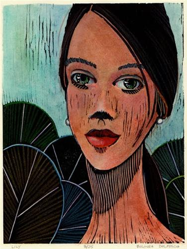"""Woodcut: Lily (& a winner of the pastel & paper giveaway)"" original fine art by Belinda Del Pesco"