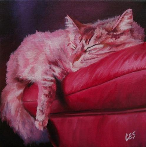 """Lounging on Leather"" original fine art by ~ces~ Christine E. S. Code"