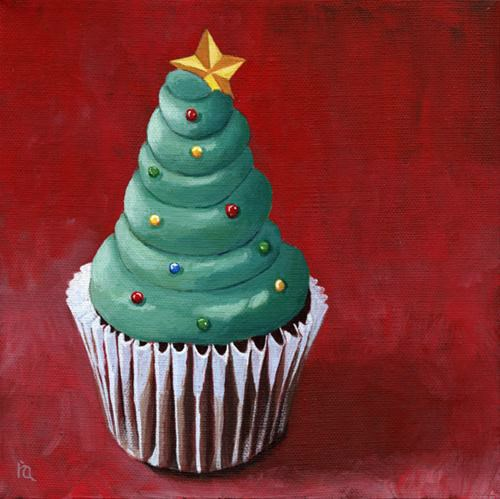Festive cupcake and SALE painting contest original fine art by Ria Hills