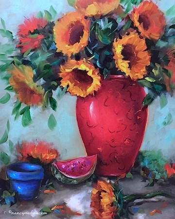 """Winter Warmth Sunflowers to Stave off the Polar Vortex - Flower Paintings by Nancy Medina"" original fine art by Nancy Medina"