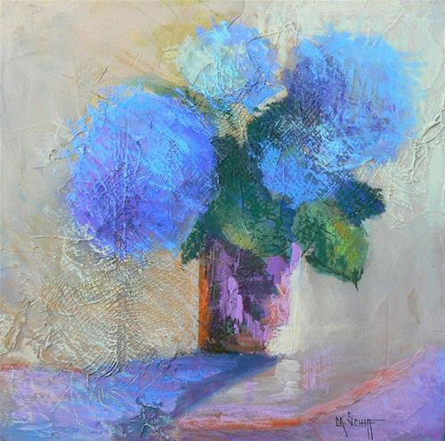 """Blue Hydrangea"" original fine art by Carol Schiff"