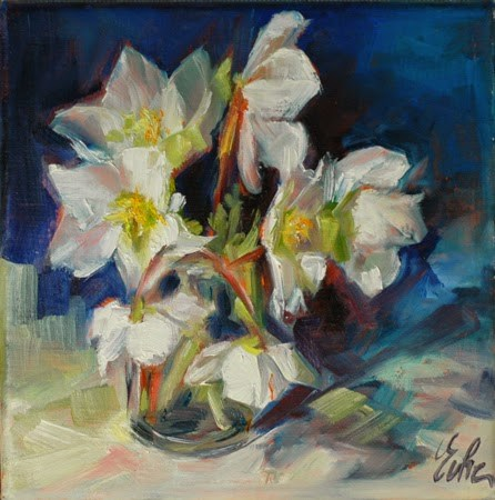 """Le bouquet d'hellebores version 2"" original fine art by Evelyne Heimburger Evhe"