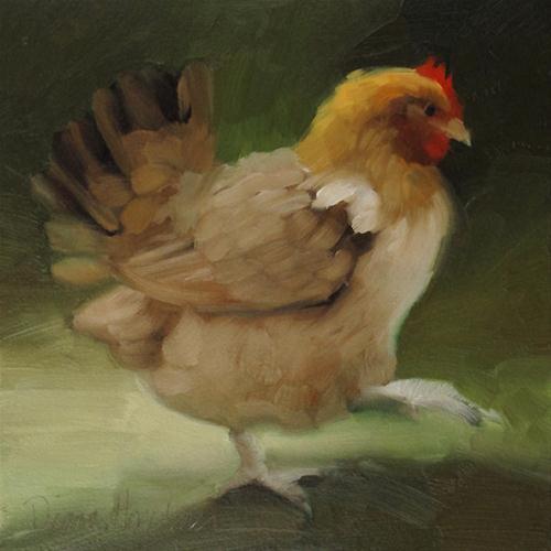 """Chicken painting of farm animal"" original fine art by Diane Hoeptner"